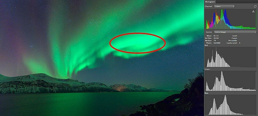image showing overexposed northern lights image in photography